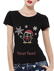 Baumwolle mit kurzen Ärmeln personalisierte Strass t-shirts Schneeflocke und Pinguin Musterfrauen