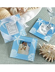 Blue Seashell and Starfish Photo Glass Coasters - Set of 2