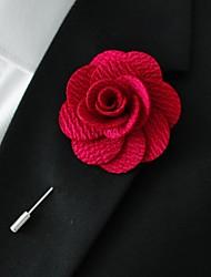 main polyester rouge fleurs de revers boutonnière pour hommes