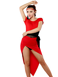tops/Ginástica/Saias ( Vermelho/Zebra/Estampado Leopardo , Fibra de Leite , Dança Latina ) - de Dança Latina - Mulheres