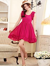 J.K.Chiffon Elegant Waisted Lantern Sleeve Dress9206 Red,Black,Champagne