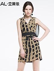 abito estivo di eral®women sexy vestito di un pezzo sleeveless plaid rappezzatura della stampa chiffon v-collo sottile