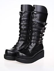 PU de cuero zapatos de 4cm lolita punky plataforma negro