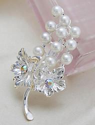 moda liga de prata pérolas de uva indivíduo broches de strass mulheres