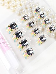 12 Pcs  The Cathead Pattern  Design Nail Art Tips With Glue