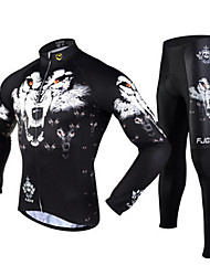 FJQXZ Men's Winter Autumn Wolf Pattern Long Sleeves Jersey Tights Black Fleece Thermal Cycling Suit