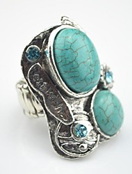 Toonykelly Vintage Antique Silver Plated Oval Turquoise CCB Adjustable Elastic Ring(1pcs)