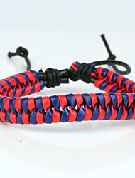 Comfortable Adjustable Men's Leather Cool Hard Bracelet Dark Blue And Red Braided Leather(1 Piece)
