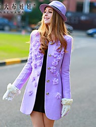 розовые doll® женская мода тонкий цветок шерстяное пальто