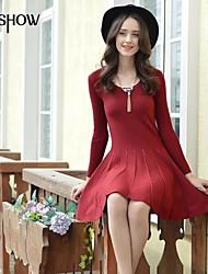 col rond conception de couleur unie manches longues moulante occasionnel mince de mishow®women-dessus du genou knitdresses
