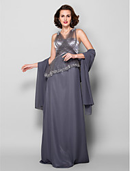 Lanting Sheath/Column Plus Sizes / Petite Mother of the Bride Dress - Silver Floor-length Sleeveless Georgette / Tulle