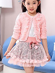Girl's Print Pink/Purple Set(Coat&Shirt&Skirt),Cute Round Neck Long Sleeve Bow