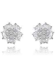 cadeaux roxi classiques autrichiens authentiques blancs petits cristaux de zircon fleur de la mode boucles d'oreille des femmes (1 paire)
