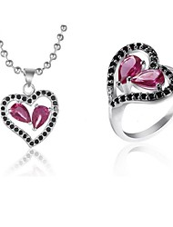 Z&X® European Style Silver Plated Purple Crystal Heart Shaped Necklace And Ring Jewelry Set (1 set)