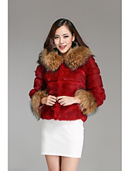Fur Coats Women's Rabbit Raccoon Fur Collar Jacket(More Color)