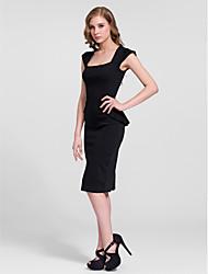 Cocktail Party Dress - Black Sheath/Column Square Knee-length Cotton