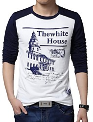 Men's Long Sleeve T-Shirt , Cotton/Polyester Casual/Plus Sizes Print