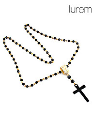 Lureme®Alloy Cross Bead Chain Necklace