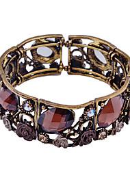 Fashion Crystal  Oval Flower Shape Cuff Bracelet