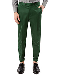 Green Solid Tailored Fit Pants In Cotton