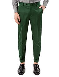grüner Feststoff taillierte Passform Hose in Baumwolle