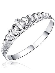 Woman's Crown Design Silver Plated Cuff  Bracelet