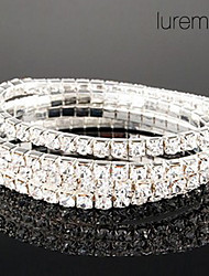 Lureme Simple Row Crystals Elastic Bracelet