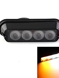 4W High Power 4 LED Waterproof Car Emergency Strobe Flash Light Amber White