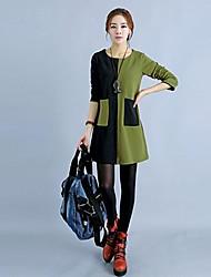 Women's Color Block Green/Orange Dress , Casual Round Neck Long Sleeve