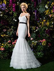 Lan Ting Fit & Flare Wedding Dress - Ivory Sweep/Brush Train Spaghetti Straps Tulle