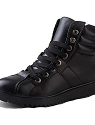 Men's Shoes Casual Leather Boots Black/White