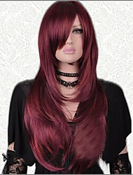 Dark Red Fashionable Long Straight Excellent Party Wig with Side Bang