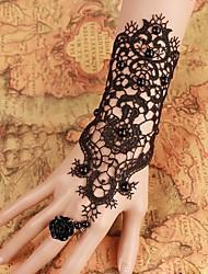 steampunk®pure schwarze Braut Perlenhandschuhe Hochzeitskleid Handschuhe Brautarmband& Ring