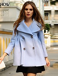 MiShow®Women's Tailored Collar Solid Color High Waist Slim Long Sleeve Casual Loose Plus Size Cashmere Coat