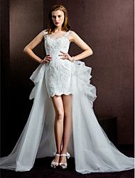 Lanting Bride® Sheath / Column Wedding Dress Two-In-One Wedding Dresses Short / Mini Scoop Tulle with