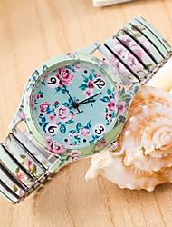 Wanbao Women's Fashion Floral Print Bracelet Watch
