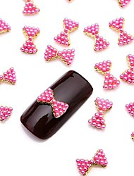 10PCS 3D Glittery Pink Pearl Alloy Bow Tie Nail Art Design Jewelry for Daily DIY French Manicure
