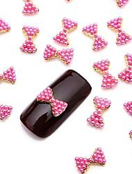 10pcs 3D glitzernden rosa Perle Legierung Fliege Nail Art Schmuck für den täglichen diy Französisch Maniküre