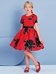 Girls Red Printing Woven Dressees