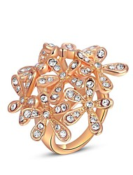 Women's European Austria Crystal Rose Gold Five Petal Flowers Alloy Statement Rings(1 Pc)