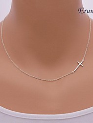 Sideways Cross Necklace - Sterling Silver Cross Necklace - Celebrity Inspired Necklace
