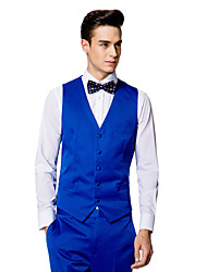 Blue Solid Tailored Fit Vest In Polyester