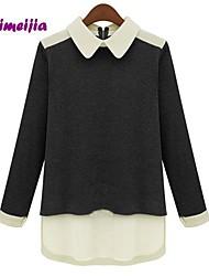 De weimeijia® vrouwen chiffon pan kraag lange mouw trui t-shirt top