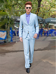 Light Blue Solid Slim Fit Tuxedo In Polyester