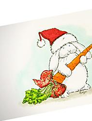 carta di coniglio cappello di natale dipinte a mano carina