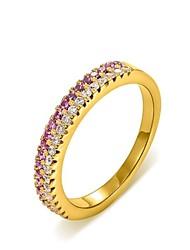 moda 18k branco roxo anéis de instrução das mulheres de cobre de ouro (1 pc)