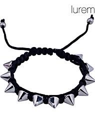 lureme®iron rivets bracelet réglable en corde tressée (couleurs assorties)