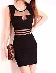 Women's Club Bodycon Dress,Solid Strapless / U Neck / Deep U Above Knee Sleeveless White / Black Polyester Summer