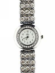 reloj de pulsera de cuarzo de banda de aleación esfera redonda de diamante de las mujeres