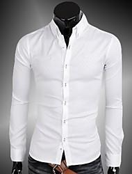 Men's Boutique South Korea Imported Fabrics Takifugu Lingge  Long Sleeve Shirt